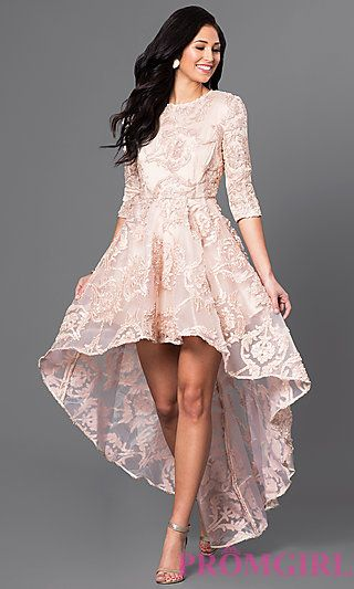 High-Low Lace Party Dress with Three-Quarter Sleeves | Formal .