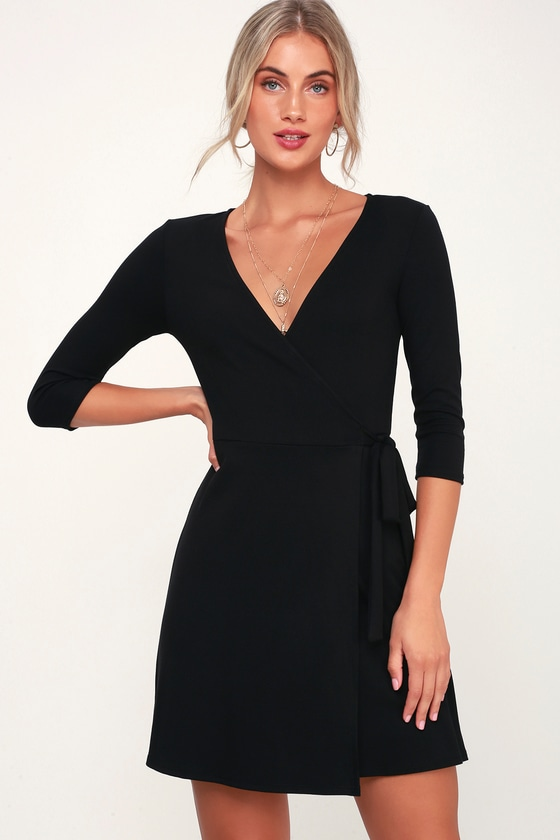 Cute Black Dress - Wrap Dress - Three-Quarter Sleeve Wrap Dre