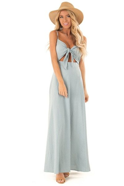 Dusty Blue Checkered Tank Dress with Front Tie Chest Cutout .