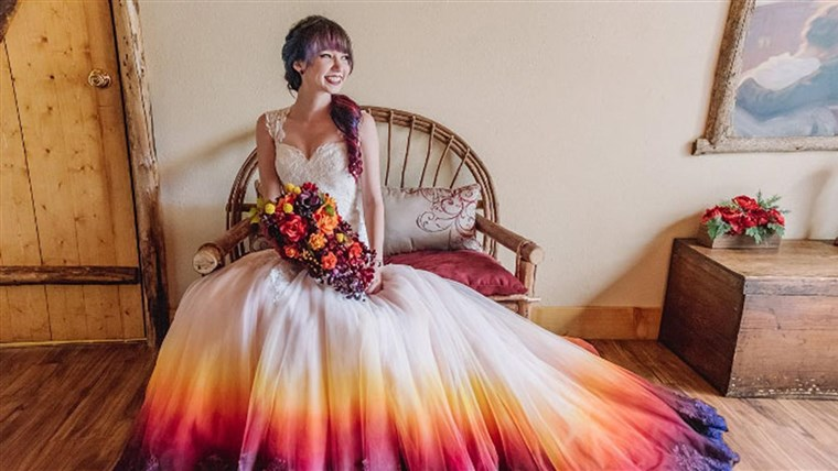 Dip-dyed, colorful wedding dresses are the new bridal tre
