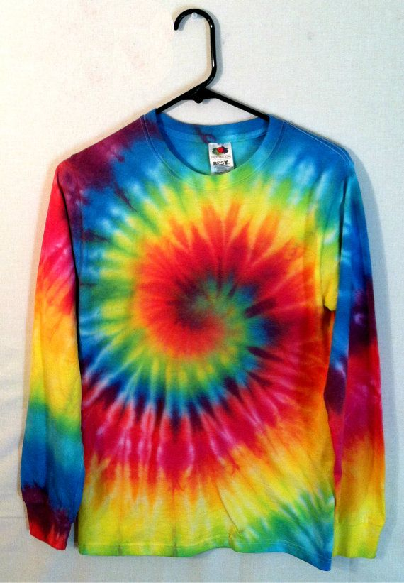 Tie Dye Shirt Long Sleeve Rainbow Spiral by RainbowEffectsTieDye .