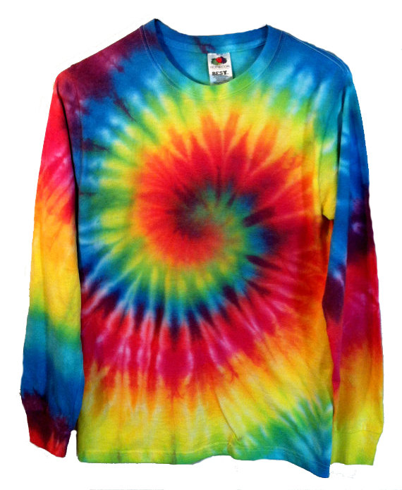 Tie Dye Shirt - Long Sleeve - Rainbow Spiral - 100% Cotton - Mens .