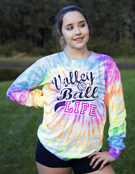 Volleyball Life - Tie-Dye Long Sleeve T-shirt | Volleyball t shirt .
