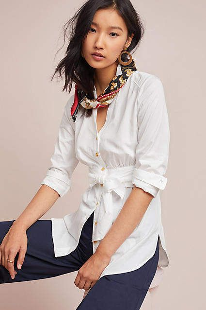 Maeve Tie-Front Poplin Blouse #ad #AnthroFave #AnthroRegistry .
