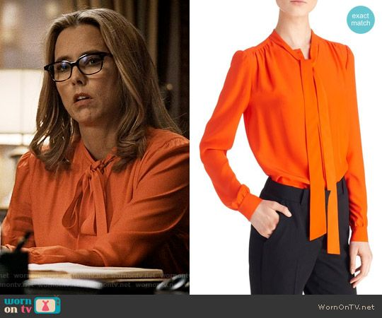 Givenchy Tie Neck Silk Blouse | Secretary outfits, Tie neck blouse .