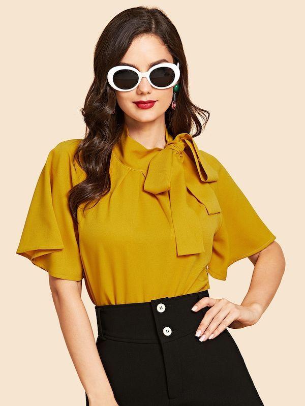 Flutter Sleeve Tie Neck Blouse -SheIn(Sheinside)#blouses .