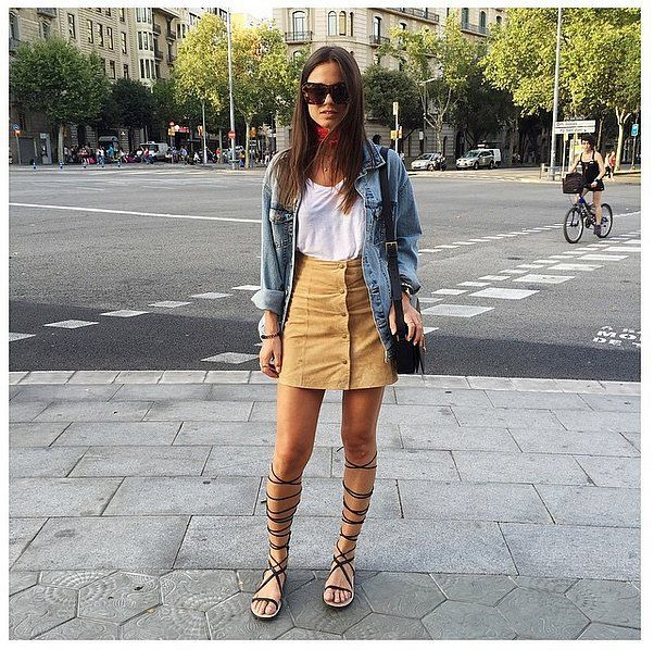 A Button-Down Skirt, a White Top, a Jean Jacket, and Gladiator .
