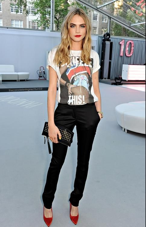 Love the idea of fancy punk: Graphic Tee + Black Dress Pants + .