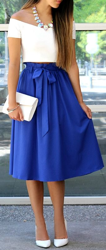 Do Or Tie Royal Blue Midi Skirt | Blue midi ski