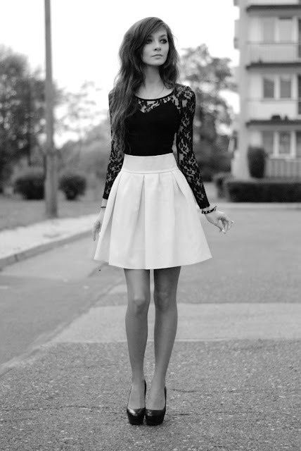 High waisted skirt with lace top (With images) | Fashion, Cute .