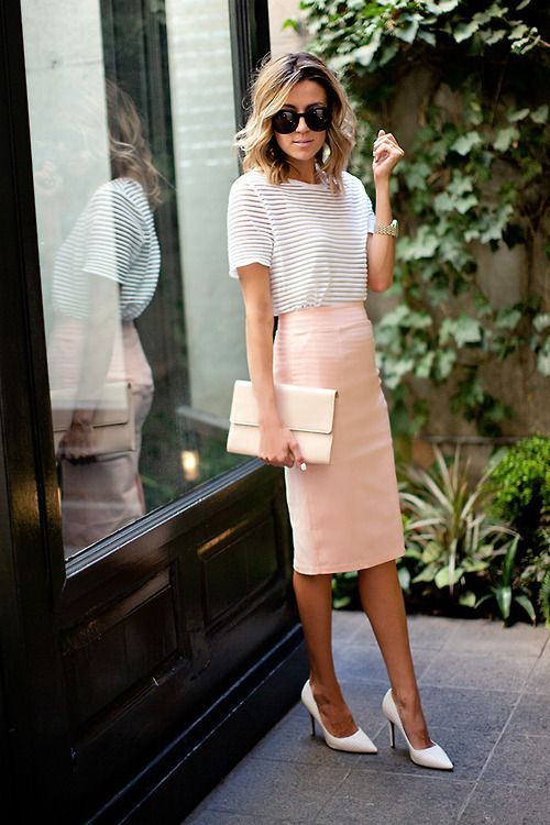 Image result for pencil skirt and silk top wedding guest | Work .