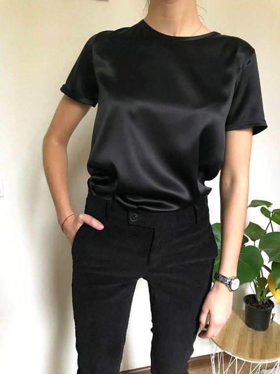 Women's silk t-shirt Short sleeve stretch silk blouse for woman .