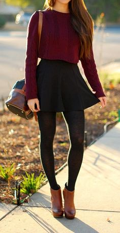 13 Best skirt with tights images | Autumn fashion, Fall outfits .
