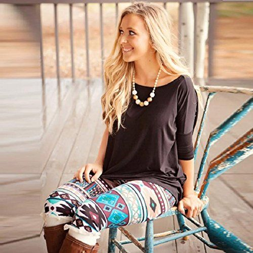 Lookatool Women Fashion Women Skinny Tribal Printed Stretchy Pants .