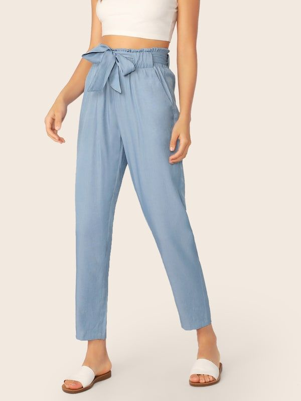 Paperbag Waist Self Belted Pants | SHEIN | Pants for women, Spring .