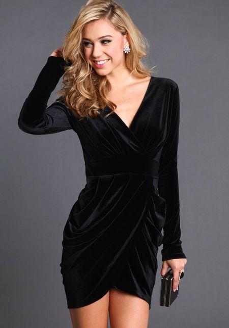Velvet Long Sleeve Tulip Dress | Velvet dress short, Velvet .