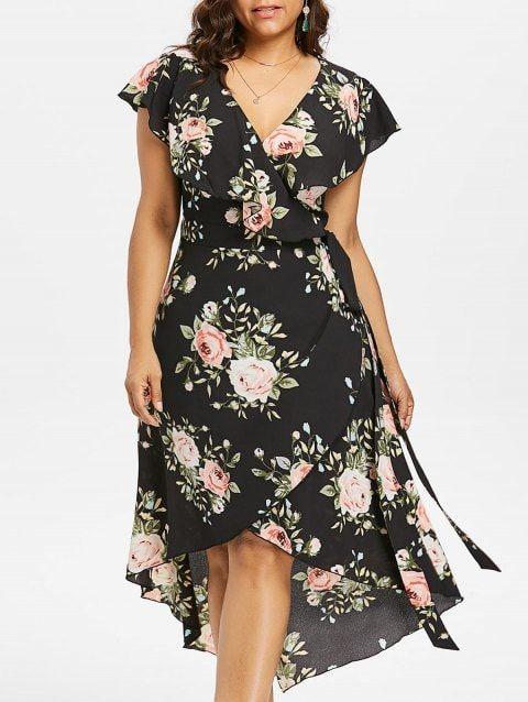 Plus Size Floral Flowing Overlap Tulip Dress - BLACK 1X #fall .
