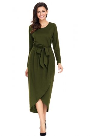 Olive Tulip Faux Wrap Sash Tie Jersey Dress | Jersey dress, Daily .