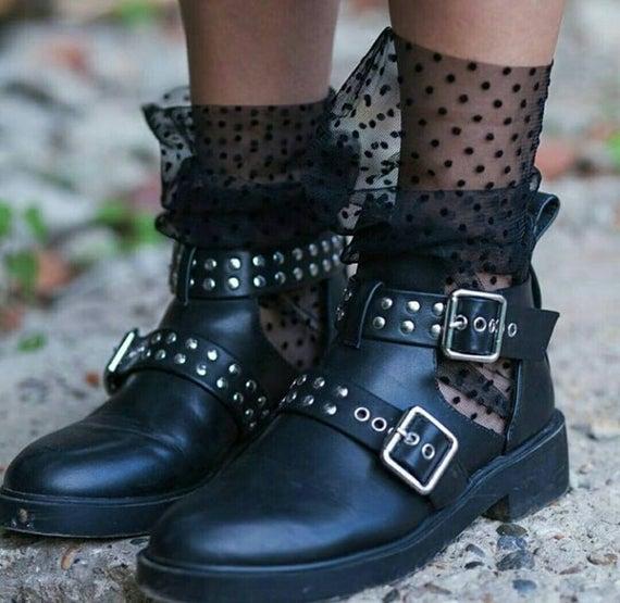 Tulle socks Polka dot socks Sheer socks Trend socks | Et