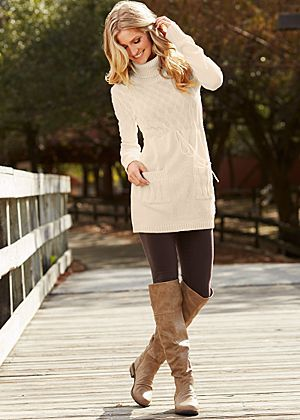 long, lean tunic sweater and leggings with boots. Love it .