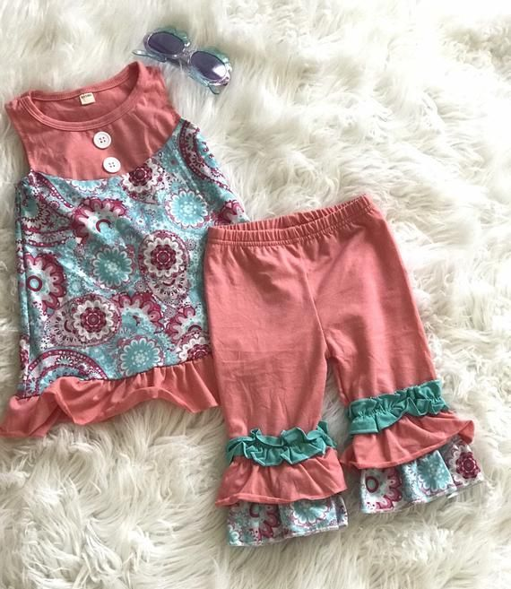Paisley Floral Tunic Tank and Ruffle Pants Outfit, SPRING Pink and .