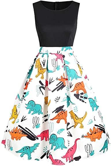 Amazon.com: COPPEN Womens Dresses Vintage Sleeveless Ladies Dress .