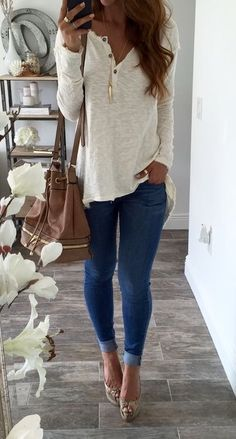 Fall & winter outfit - White loose henley top, jeans & heels good .