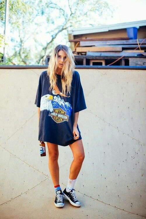 Graphic prints on oversized t-shirts are great and give a boyish .