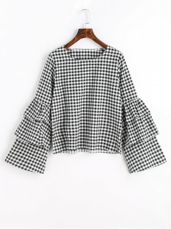Up to 80% OFF! Tiered Flare Sleeve Checked Blouse. #Zaful #Tops .