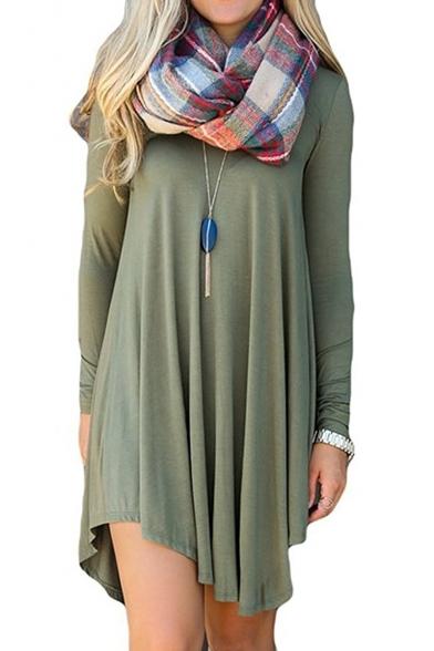 Women's Long Sleeve Casual Loose T-Shirt Dress Mini Tunics For .