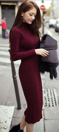 Fashion Ribbed High Neck Long Sleeve Knit Long Sweater | Long knit .