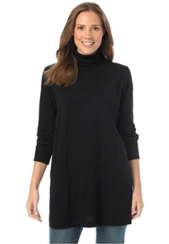 Womens Plus Size Classic Fit Perfect Cotton Turtleneck Tunic .