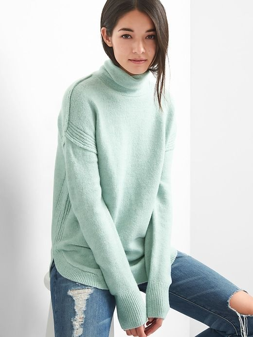 Gap Womens Ribbed Sleeve Turtleneck Tunic Mist Blue | Turtle neck .