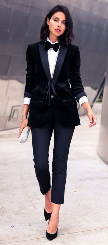 black and white outfit idea : shirt + heels + pants + velvet .