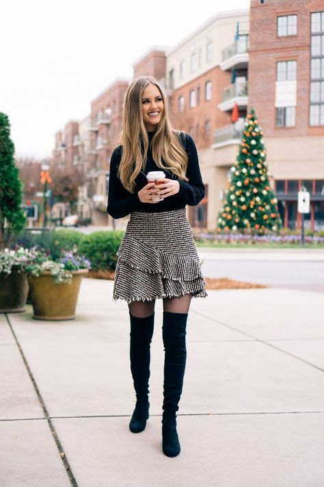 Tweed Skirts and Over-The-Knee Boots | Over the knee boot outfit .