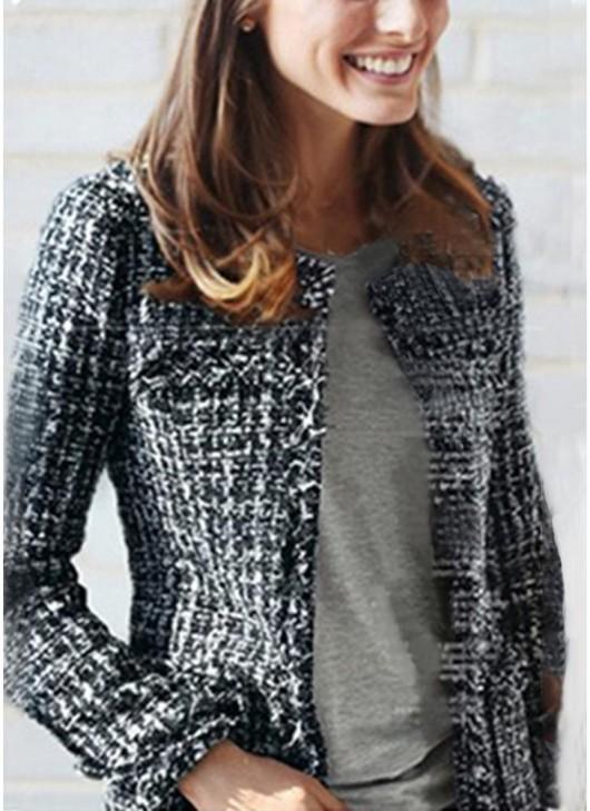 Women Tweed Jacket Plaid Frayed Collarless Long Sleeve Slim .