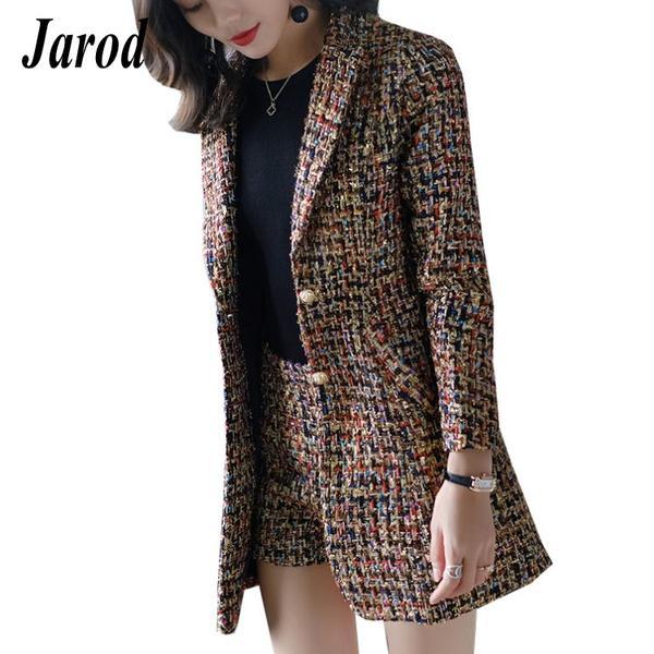2018 Autumn Winter New Elegant Women Tweed Jacket Suits Long Plaid B
