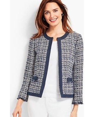 50% Off Women's Chambray-Trim Tweed Jacket - INDIGO-BLUE - 24 .
