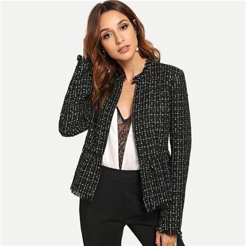 Black Autumn Jacket Women Zip Up Hem Peplum Tweed Coat Casual .