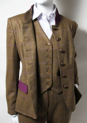 Ladies Tweed Suit & Waistcoat. I love the splash of colour on the .