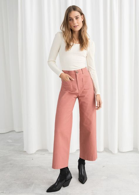 High Waisted Twill Pants - Pink - Wide Trousers - & Other Stories .