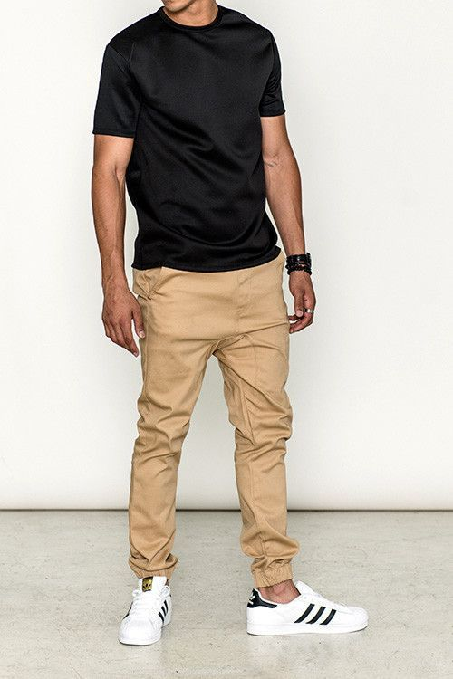 Denim and twill blend jogger in khaki - Stretch waist - Multiple .