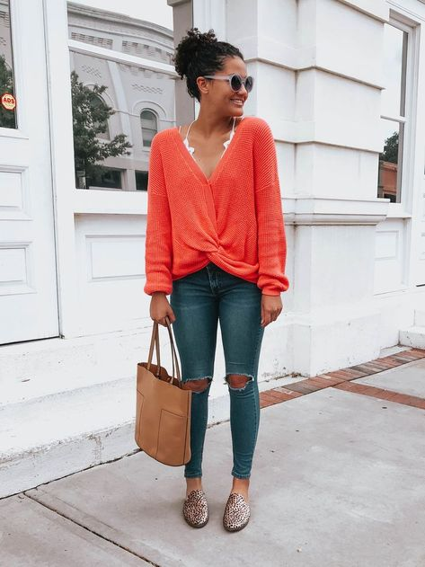20+ Winter Outfit Ideas | Twist Front Orange Sweater | Twist Front .
