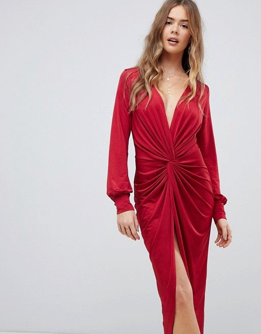Boohoo | Boohoo slinky twist front midi dress in red | Twist front .