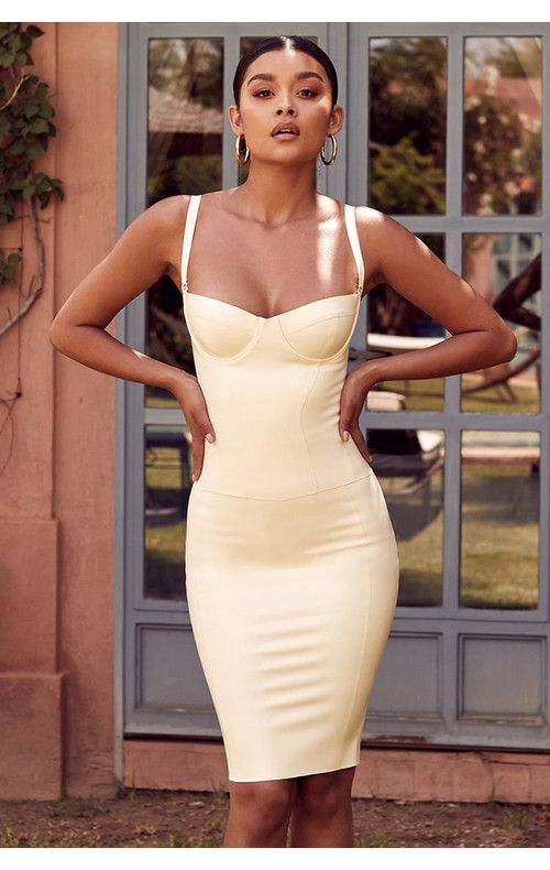 Clothing : Bodycon Dresses : 'Casmia' Vanilla Latex Detachable .
