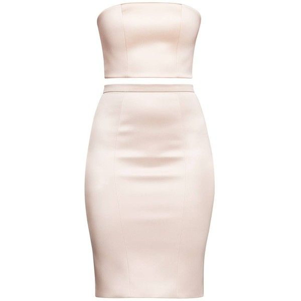 Alice Grace - Peach Strapless Crop Top & Pencil Skirt Two Piece .