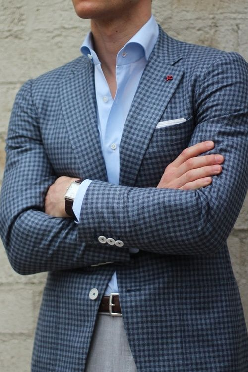 We love a gingham blazer for men - just keep the rest of your .
