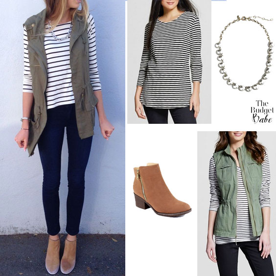 Cute & Trendy Spring Outfit Idea: Utility Vest and Striped Top .