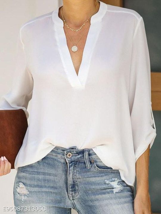 V Neck Patchwork Brief Plain Long Sleeve Blouse #fashion #clothes .