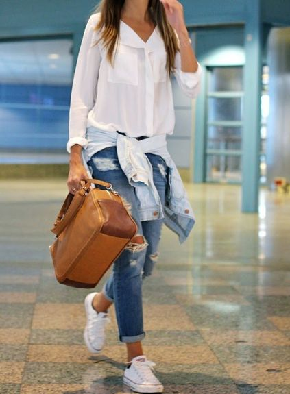 White V Neck Long Sleeve Pockets Loose Blouse in 2020 | Fashion .